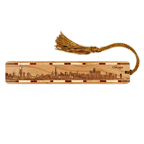 Chicago Illinois Skyline Engraved Wooden Bookmark with Tassel