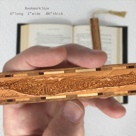 Honolulu Hawaii Cityscape Skyline Engraved Wooden Bookmark with Solid Inlays and Tassel