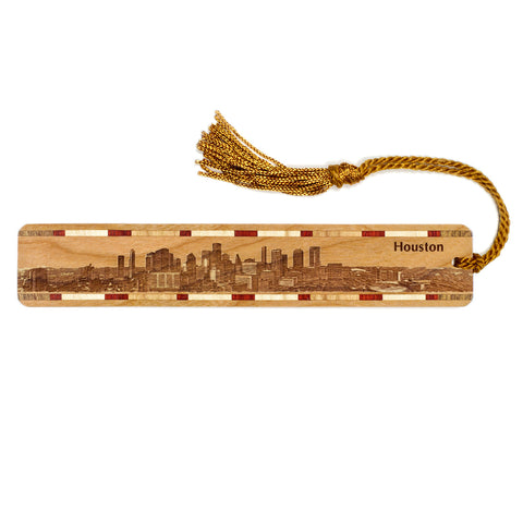 Houston Texas Skyline Engraved Wooden Bookmark with Tassel