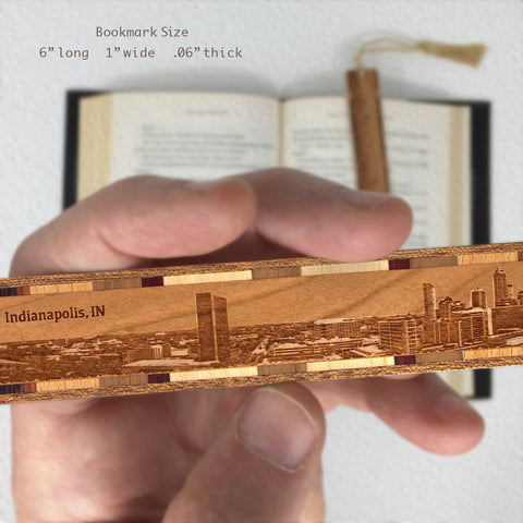 Indianapolis Indiana Cityscape Skyline Engraved Wooden Bookmark with Solid Inlays and Tassel