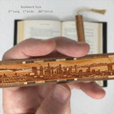 Los Angeles California Skyline Engraved Wooden Bookmark with Tassel