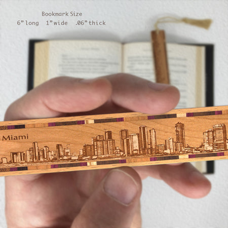 Miami Florida Cityscape Skyline Engraved Wooden Bookmark with Solid Inlays and Tassel