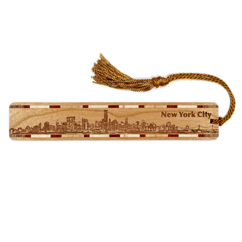 New York City Skyline Engraved Wooden Bookmark with Tassel