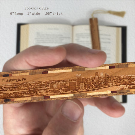Pittsburgh Pennsylvania Cityscape Skyline Engraved Wooden Bookmark with Solid Inlays and Tassel