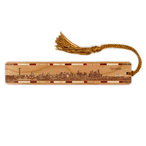 Seattle Washington Skyline Engraved Wooden Bookmark with Tassel