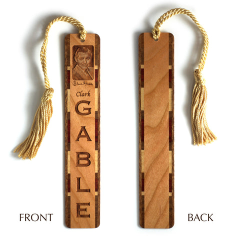 Clark Gable Handmade Engraved Wooden Bookmark with Gold Tassel