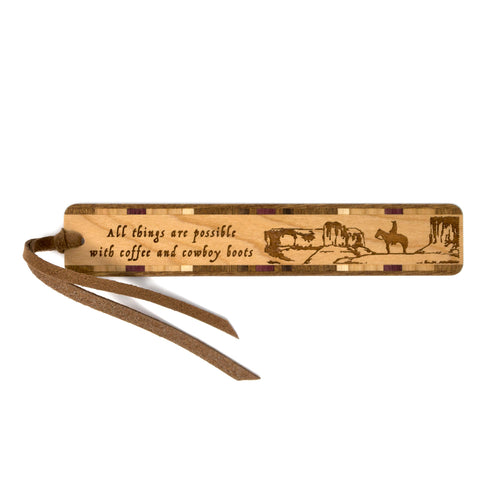 All Things Possible With Coffee And Cowboy Boots Quote Engraved Wooden Bookmark with Tassel