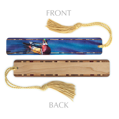 "Wood Bookmark with Wood Duck ""The Drake"" Watercolor Painting by Colleen Nash Becht - Includes Gold Rope Tassel - American Made"