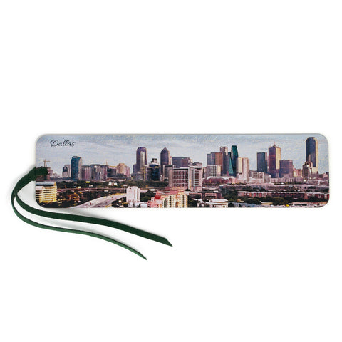 Dallas Texas Skyline, Wooden Bookmark with Suede Tassel