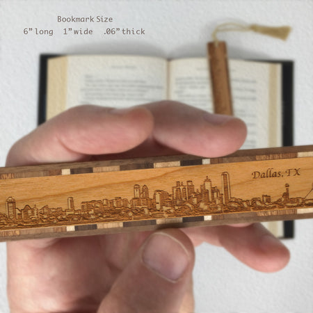 Dallas Texas Skyline Engraved Wooden Bookmark with Tassel