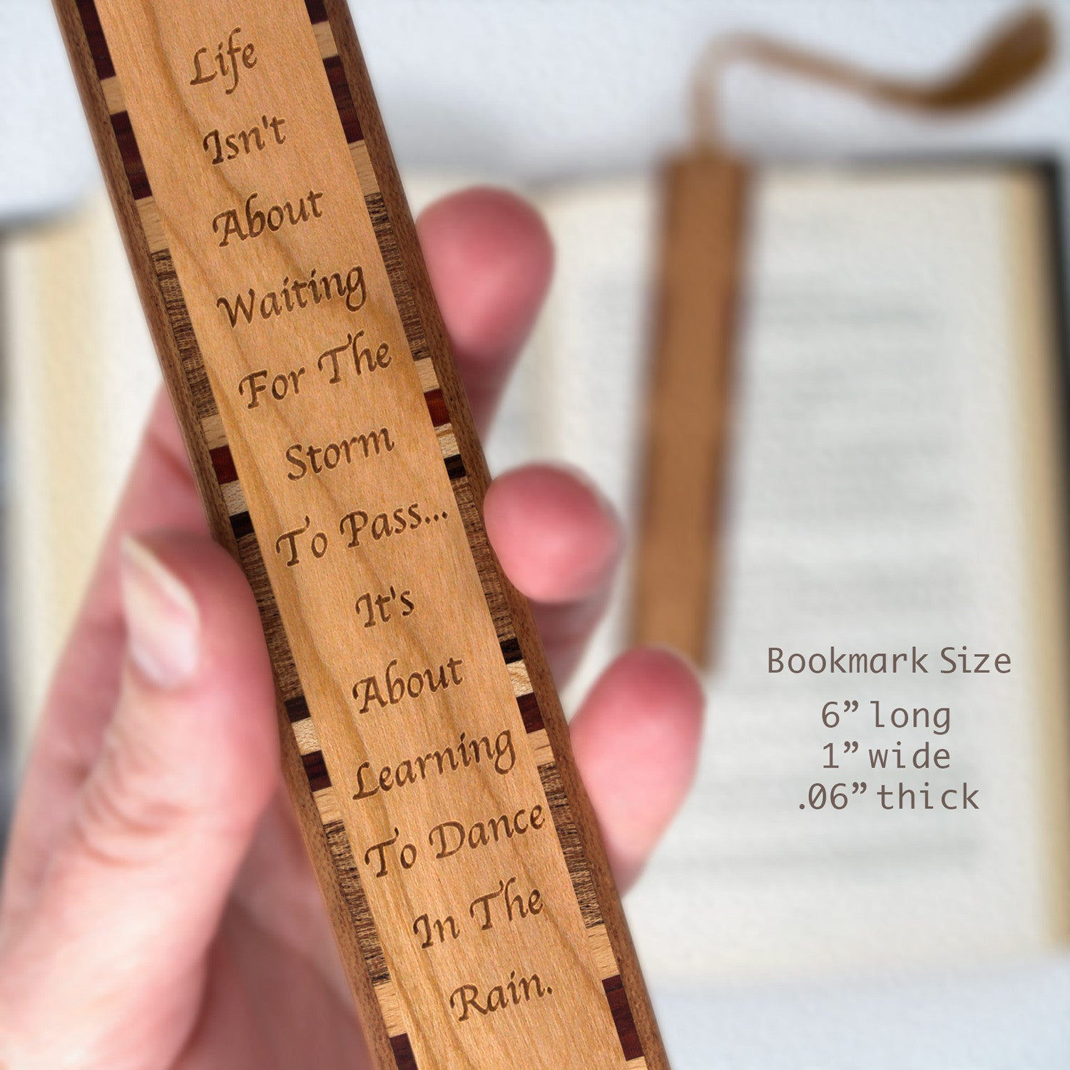 Learn To Dance In The Rain Quote Engraved Wood Bookmark With Inlays