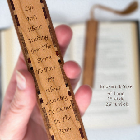 Learn to Dance in the Rain Quote Engraved Wood Bookmark With Inlays and Tassel