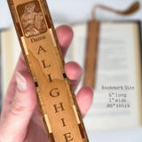 Dante Alighieri Engraved Portrait Artwork Handmade Wooden Bookmark with Tassel