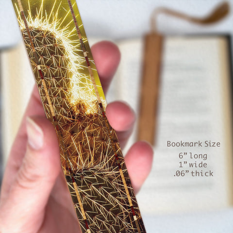 Cactus at Vermilion Cliffs Arizona, Color Photograph on Maple Wood Bookmark with Tassel