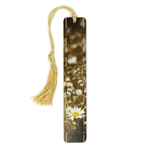 Daisy Wild Flower in Elwha Valley, Olympic National Park, WA - Photograph Color Wooden Bookmark with Tassel