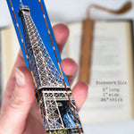 Eiffel Tower Under A Blue Sky - Color Photograph by Mike DeCesare - Wooden Bookmark with Tassel