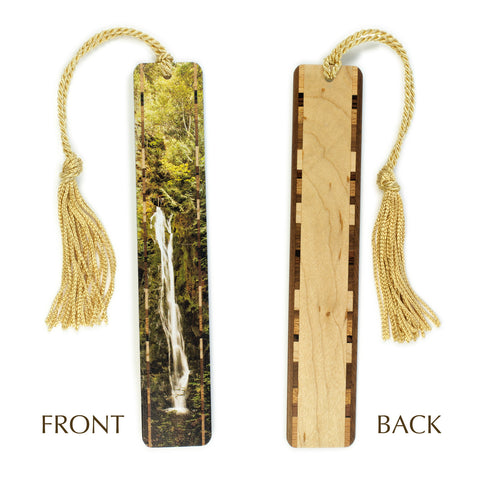 Madison Creek Falls - Olympic National Park, WA - Photograph Color Wooden Bookmark with Tassel