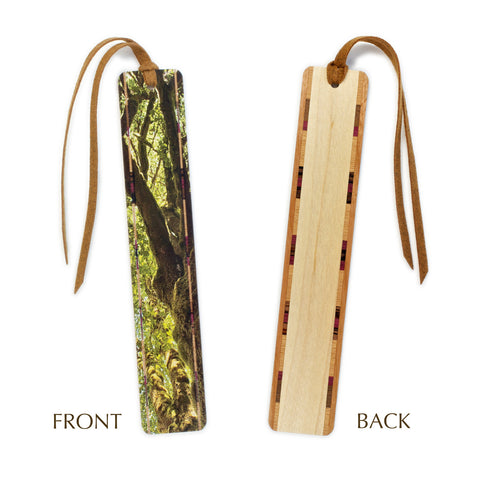 Rainforest Mossy Tree Color Wooden Bookmark with Brown Suede Tassel