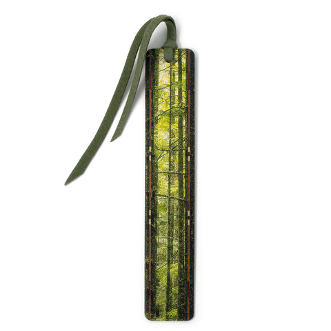 Olympic Evergreen Rainforest - Color Photograph by Mike DeCesare - Wooden Bookmark with Tassel