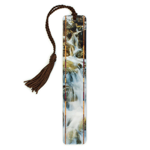 Waterfall at Olympic National Park, WA - Photograph Color Wooden Bookmark with Tassel