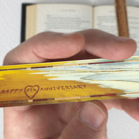 5th Anniversary - Written in the Sand - Wooden Bookmark with Tassel