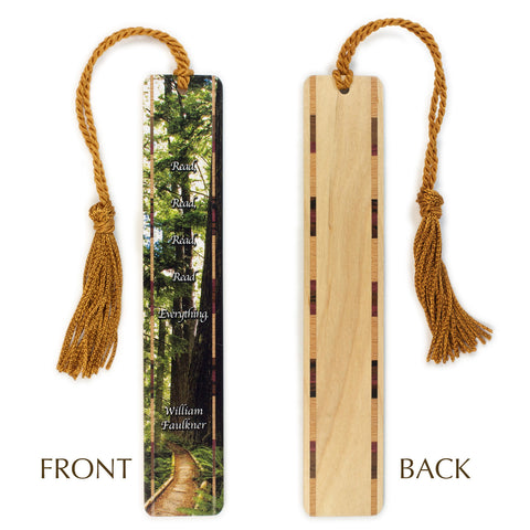 William Faulkner Quote - Photograph at Olympia National Park, Washington - Color Wooden Bookmark with Tassel