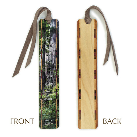 Garrison Keillor Quote - Photograph of Redwoods - Color Wooden Bookmark with Tassel