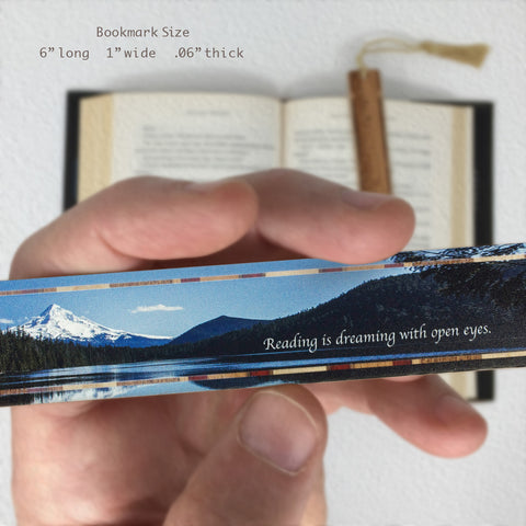 Reading Quote - Photograph at Lost Lake, Mount Hood National Forest, Oregon - Color Wooden Bookmark with Tassel