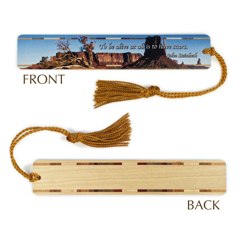 John Steinbeck Quote - Monument Valley, Arizona Color Wooden Bookmark with Tassel