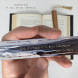 John Steinbeck Inspiring Travel Quote with Photograph of California Beach Scene on a Solid Maple Wood Bookmark with Tassel
