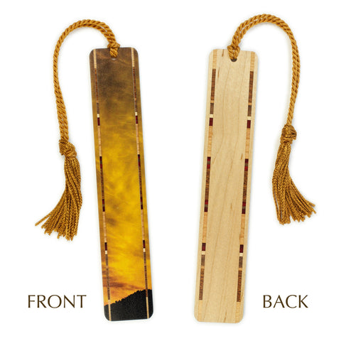 Utah Sunrise Original Photograph Color Wooden Bookmark with Copper Tassel