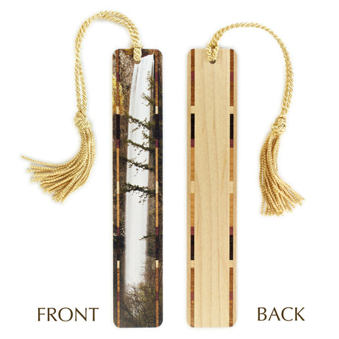 Waterfall Color Wooden Bookmark with Gold Tassel