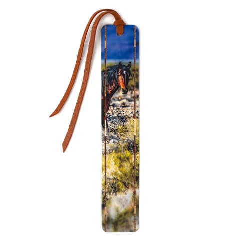 Wild Horse - Photograph by Mike DeCesare on Solid Cherry Wooden Bookmark with Tassel