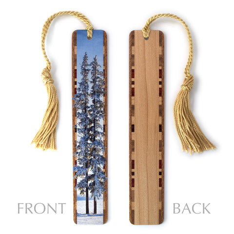 Six below freezing Winter evergreen trees in barren landscape - Color Photograph Wooden Bookmark with Tassel