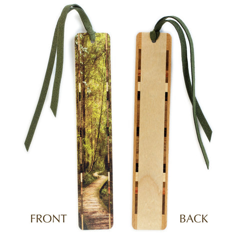 Forest Path - Woodlands - Color Wooden Bookmark with Green Suede Tassel