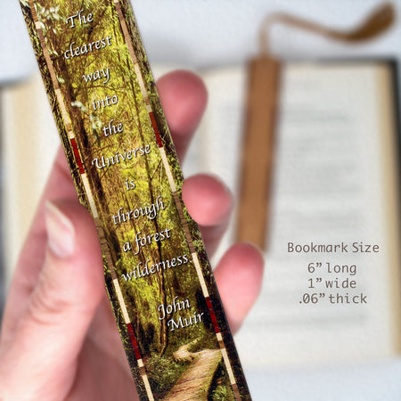 Woodlands Path with John Muir Quote - Color Wooden Bookmark with Tassel