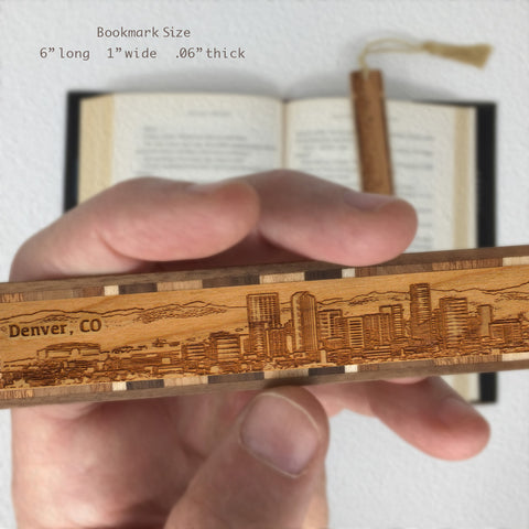 Denver Colorado Skyline Engraved Wooden Bookmark with Tassel