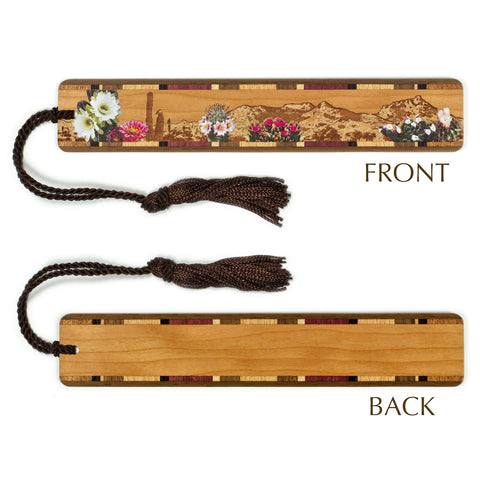 Desert Flowers - Desert Scene Engraved Color Wooden Bookmark with Tassel