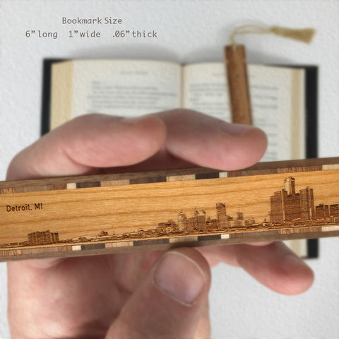 Detroit Michigan Skyline Engraved Wooden Bookmark with Tassel
