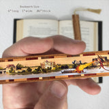 Fire Breathing Dragon Defends Castle - Colorful Solid Wood Bookmark With Decorative Accent Inlay and Tassel