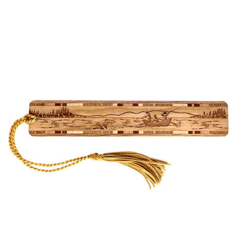 Drift Boat Fishing - Laser Engraved Wooden Bookmark with Tassel