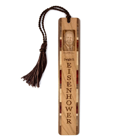 Dwight D. Eisenhower Engraved Wooden Bookmark with Suede Tassel