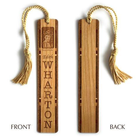 Edith Wharton Engraved Wooden Bookmark with Gold Rope Tassel