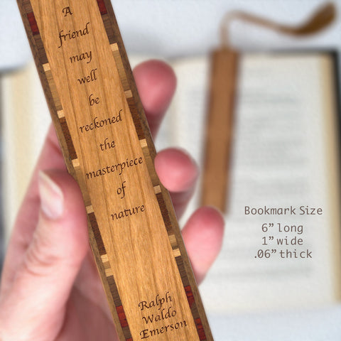 Ralph Waldo Emerson Engraved Quote About Friendship Wooden Bookmark with Tassel