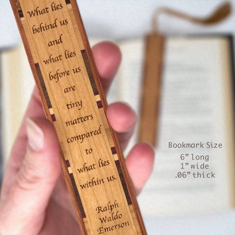 What Lies Within Us Quote by Ralph Waldo Emerson Engraved Wood Bookmark With Inlays and Tassel