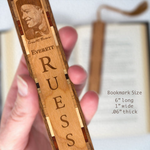 Everett Ruess Portrait 1 Engraved Wooden Hand Made Bookmark with Tassel
