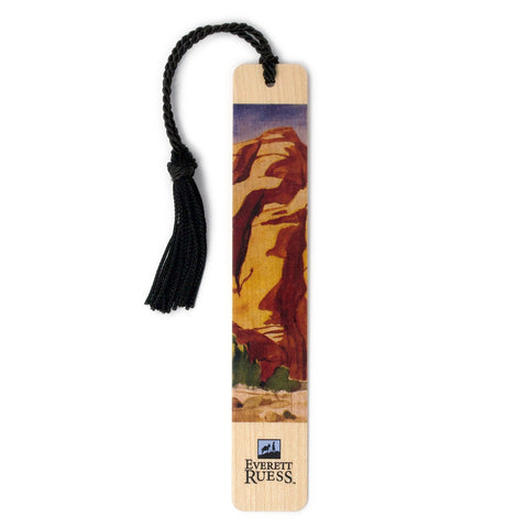 Everett Ruess Watercolor Titled Desert Light Hand Made Wood Bookmark with Tassel