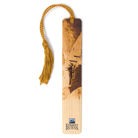 Everett Ruess Visiting Anasazi Cliff Dwelling Hand Made Wood Bookmark with Tassel