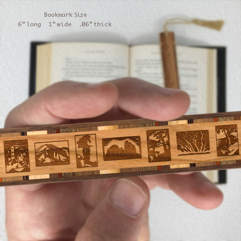 Everett Ruess Block Prints Engraved Hand Made Wooden Bookmark with Tassel