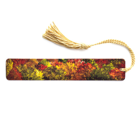Aerial View of Fall Forest on Maple Wood Bookmark with Gold Rope Tassel